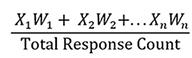 Formula calculating average weighted score
